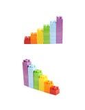 增长的堆被隔绝的玩具砖 免版税库存图片