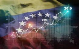 增长的统计财政2019年反对委内瑞拉旗子 免版税库存照片