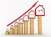 增长绘制在不动产价格的 库存图片