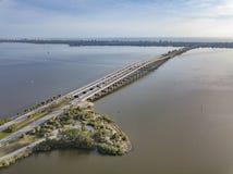 墨尔本佛罗里达堤道桥梁 免版税库存图片