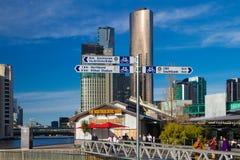 墨尔本南码头首都足迹 免版税库存照片