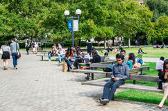 墨尔本大学南草坪的学生 免版税库存照片