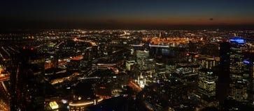 墨尔本澳大利亚都市风景夜间 免版税图库摄影