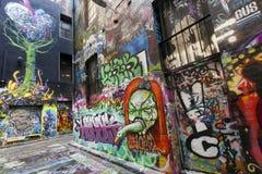 墨尔本街街道画 库存图片