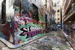 墨尔本街街道画 库存照片