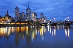墨尔本,澳大利亚地平线在晚上 免版税图库摄影