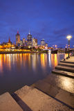 墨尔本,澳大利亚地平线在晚上 免版税库存照片