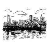 墨尔本,澳大利亚看法  横跨河亚拉的Southgate人行桥 向量例证