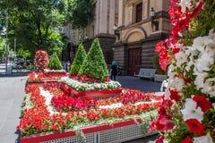 墨尔本,澳大利亚- 2017年12月16日:在墨尔本城镇厅附近的美丽的花床在林斯街道上 图库摄影