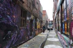 墨尔本,澳大利亚- 2017年8月15日-壁画在城市街道上的街道画murales 免版税库存图片
