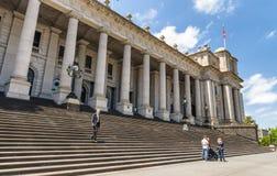 墨尔本- 2015年10月:城市街道和大厦在beauti 免版税库存照片