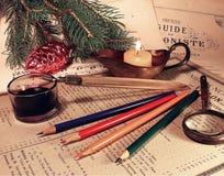 墨水和圣诞节 免版税库存照片