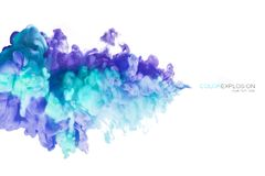 墨水在白色背景隔绝的水中 抽象被构造的背景颜色数字式展开分数维例证 免版税库存照片