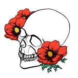 墨水头骨和花 库存例证