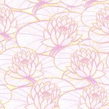 墨水手拉的莲花无缝的样式桃红色 库存例证