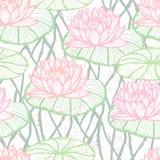 墨水手拉的莲花无缝的样式桃红色 皇族释放例证