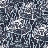 墨水手拉的莲花无缝的样式银 库存例证