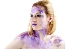 墨水纵向紫色 免版税库存图片