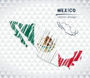 墨西哥与在白色背景隔绝的旗子里面的传染媒介地图 剪影白垩手拉的例证 皇族释放例证