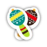 墨西哥乐器 手拉的设计贴纸maracas 免版税库存照片