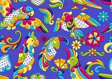 墨西哥人塔拉韦拉与热带鹦鹉的瓷砖样式 皇族释放例证
