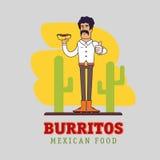 墨西哥人拿着全国快餐-辣面卷饼 库存图片