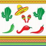 墨西哥元素和装饰品 库存图片