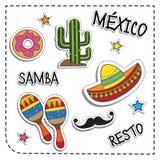 墨西哥党贴纸补花 墨西哥样式 提取空白背景蓝色按钮颜色光滑的例证查出的对象被设置的盾发光的向量 免版税库存图片