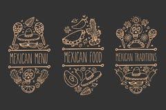 墨西哥剪影乱画收藏,导航手拉的标签元素 头骨, sugarskull,阔边帽,鲕梨,辣椒,仙人掌,石灰, lem 库存图片