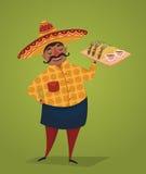 墨西哥厨师用炸玉米饼,传染媒介漫画人物 免版税图库摄影