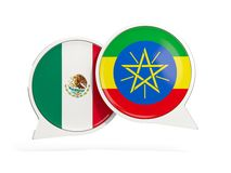 墨西哥和埃塞俄比亚的旗子在闲谈泡影里面 皇族释放例证