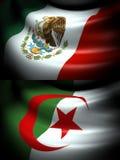 墨西哥和阿尔及利亚的旗子 免版税库存图片