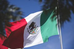 墨西哥国旗爱国标志;班德拉de MA©xicoo simbolo patrio de esta nacià ³ n 免版税库存图片