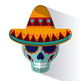 墨西哥在平的设计样式,传染媒介例证的文化象 图库摄影