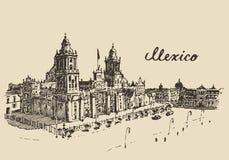 墨西哥城大城市大教堂传染媒介剪影 皇族释放例证