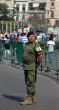 墨西哥城,墨西哥- 2015年11月24日:墨西哥军队卫兵在Zocalo广场,墨西哥城 免版税图库摄影