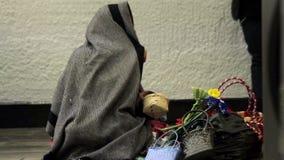 墨西哥城,墨西哥8月2014年:全景 要求的妇女慈善 股票录像