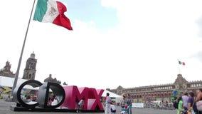 墨西哥城,墨西哥8月2014年:墨西哥城商标在宪法广场 股票录像