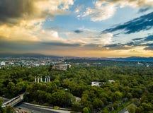 墨西哥城-空中全景-日落 库存图片