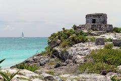 墨西哥寺庙tulum 免版税库存照片