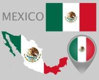 墨西哥旗子、地图和地图尖 库存例证
