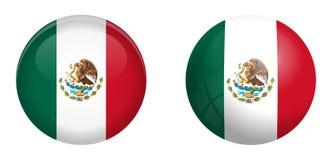 墨西哥旗子在3d圆顶按钮下和在光滑的球形/球 向量例证