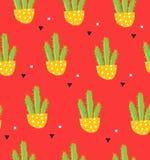 墨西哥样式用在花盆的仙人掌和在红色背景的几何形状 纺织品和包裹的装饰品 向量 免版税图库摄影