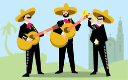 墨西哥流浪乐队在有吉他的阔边帽结合 库存例证