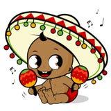 墨西哥流浪乐队播放maracas的男婴 库存照片