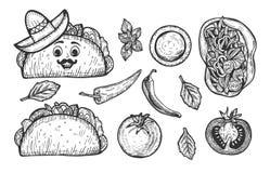 墨西哥炸玉米饼便当 免版税库存图片