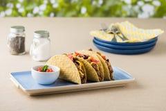 墨西哥炸玉米饼用牛肉,切达干酪,蕃茄 库存照片