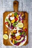 墨西哥炸玉米饼用鲕梨、慢熟肉、烤玉米、红叶卷心菜slaw和辣椒辣调味汁在土气石桌上 免版税图库摄影
