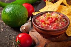 墨西哥烤干酪辣味玉米片芯片和辣调味汁垂度 免版税图库摄影