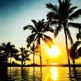 墨西哥热带日落 免版税库存图片